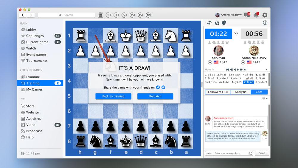 Chess training UI
