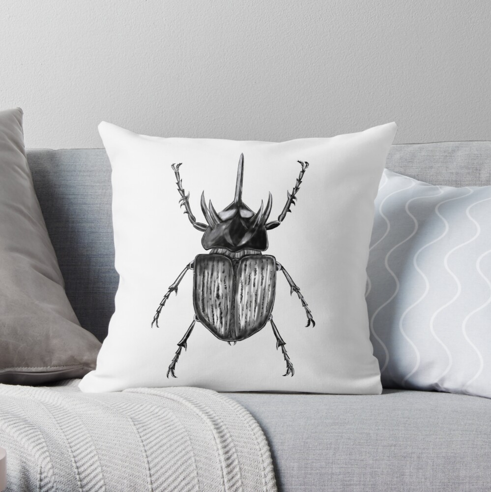 Insects art - Beetle with one horn throw pillow