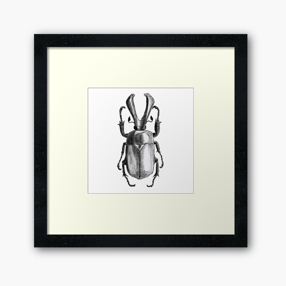 Insects art - Beetle with horns work-framed-art-print