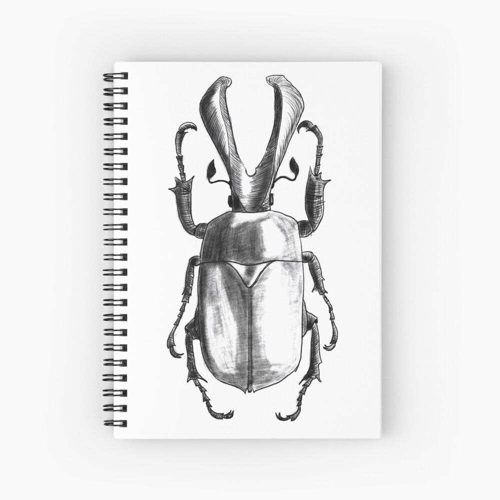 Insects art - Bettle with horns work-spiral-notebook