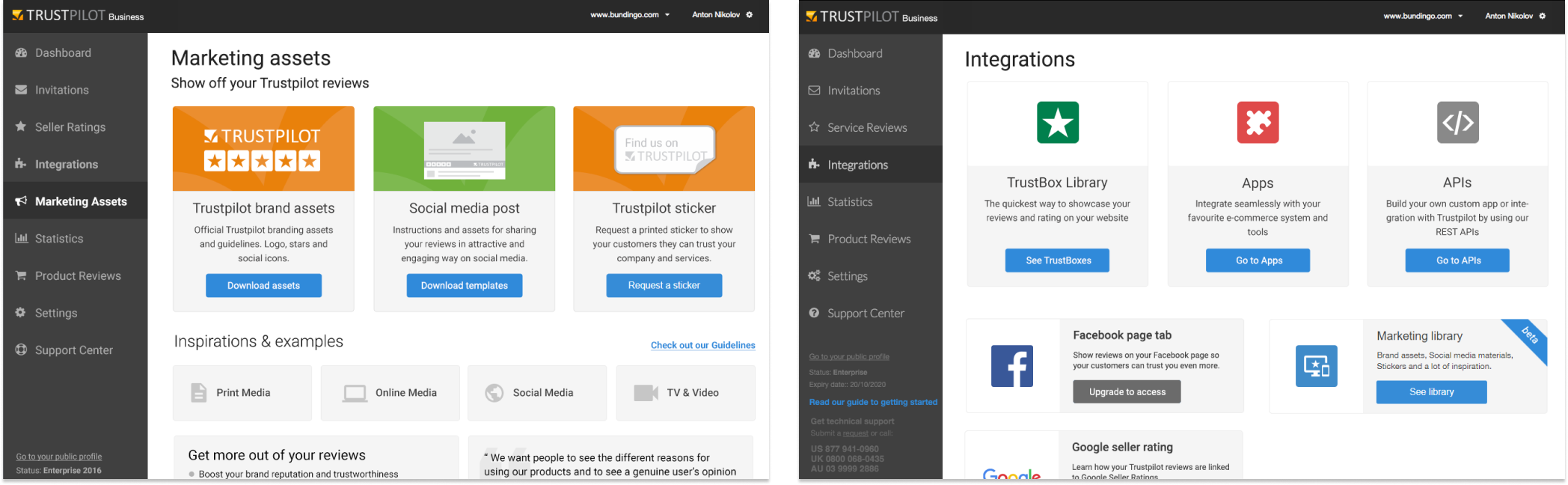 Marketing library and new integrations page to support customers marketing activity.