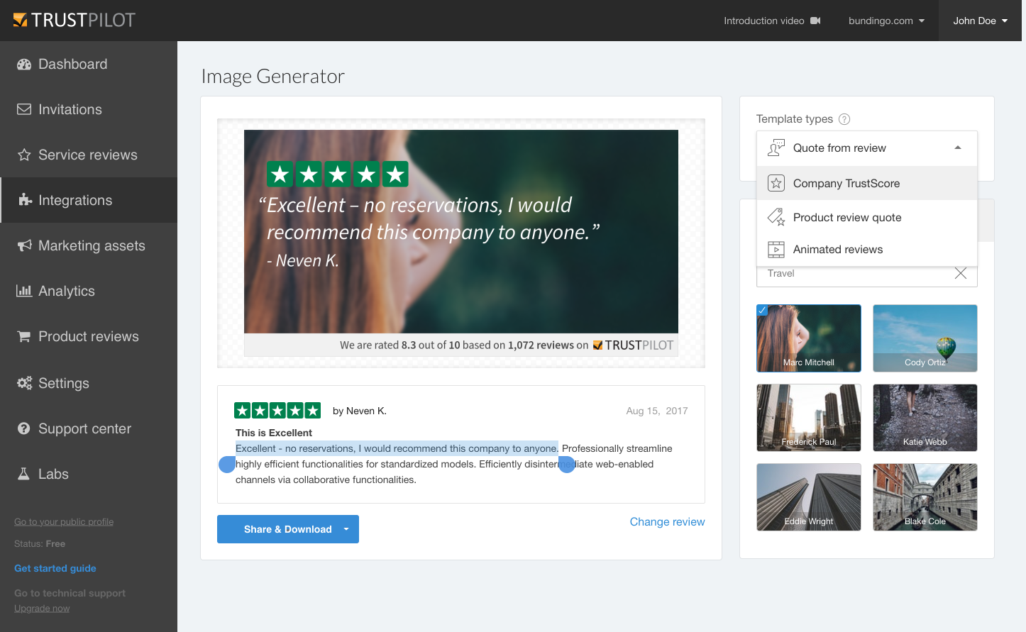 Image generator- template selection