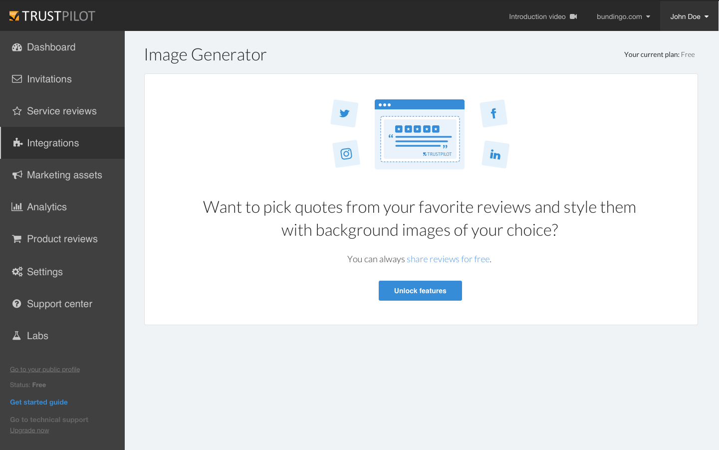 Image generator- upsell screen