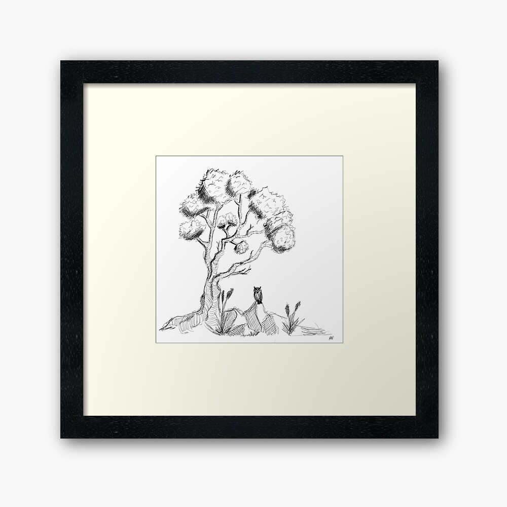 Tree with owl framed-art-print