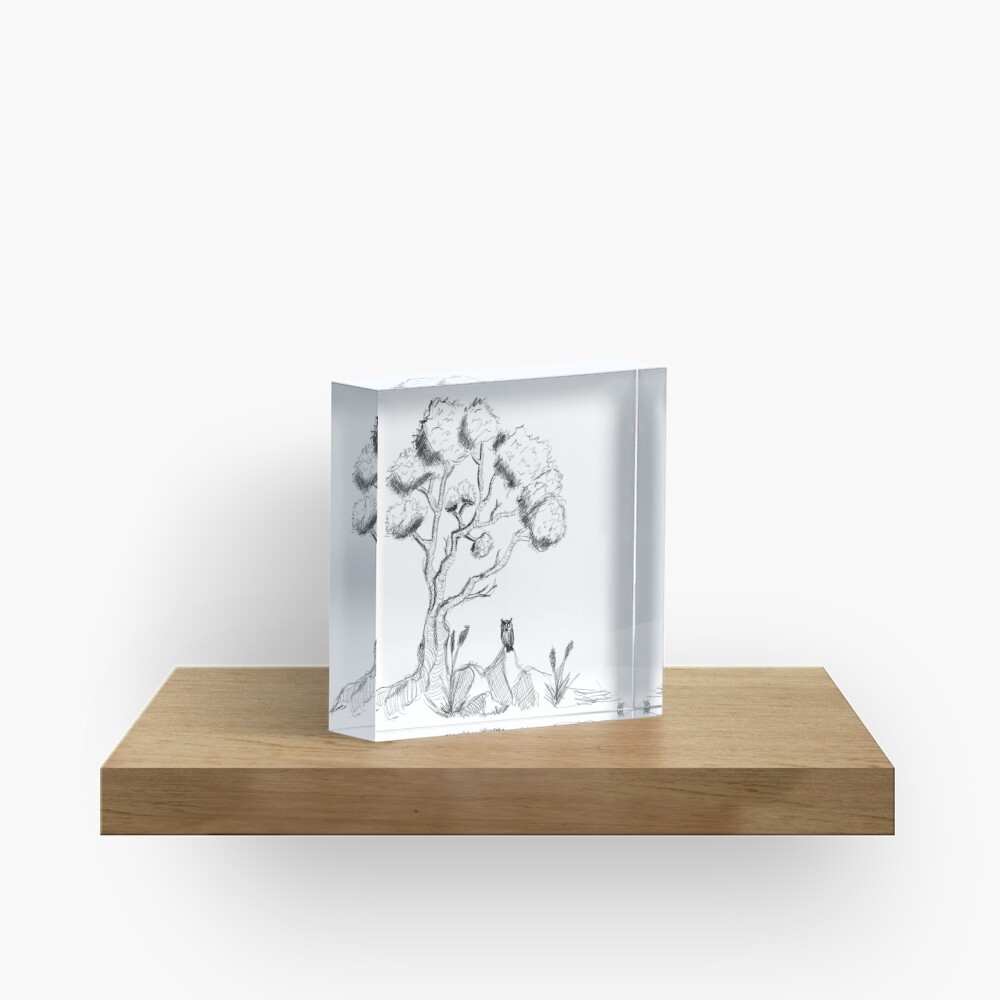 Tree with owl-acrylic-block