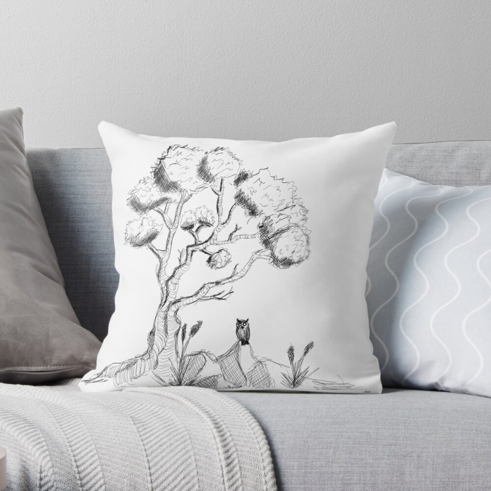 Tree with owl throw-pillow