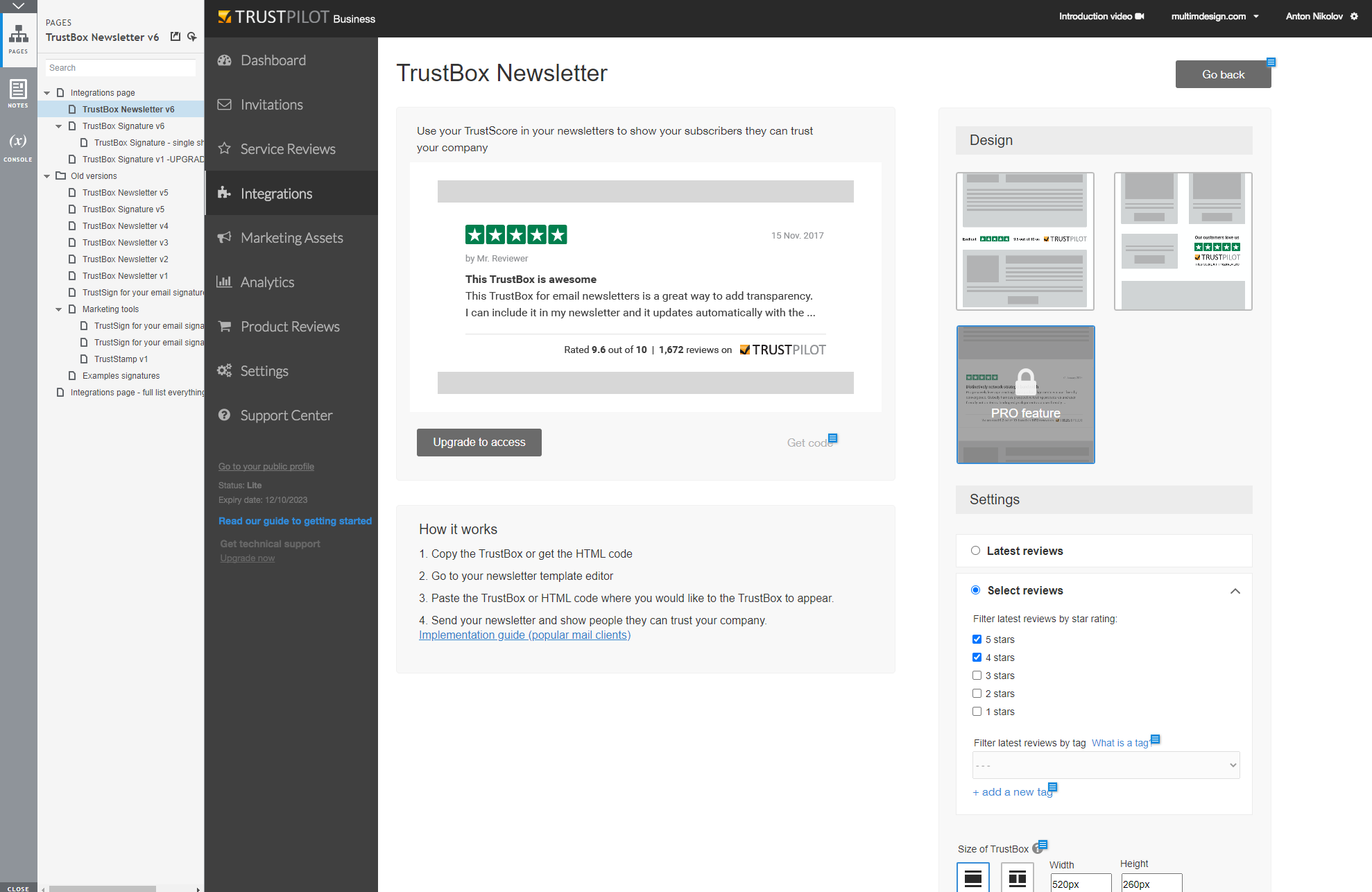 Trustbox Newsletter prototype