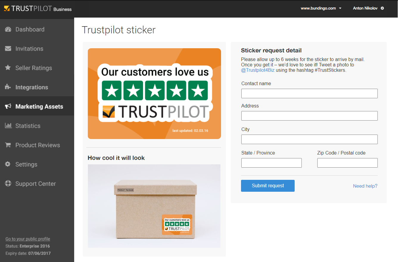Trustpilot MVP sticker